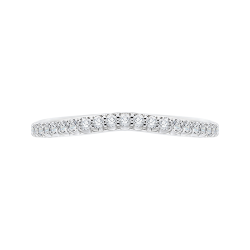 Round Diamond Wedding Band with Euro Shank In 14K White Gold