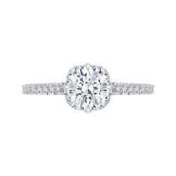 18K White Gold 1/3 Ct Diamond Carizza Semi Mount Engagement Ring to fit Round Center