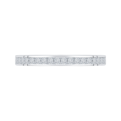 14K White Gold Princess Diamond Half-Eternity Wedding Band