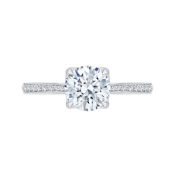 Round Diamond Cathedral Style Engagement Ring In 18K White Gold