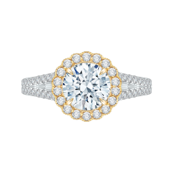 18K Two-Tone Gold Round Diamond Halo Engagement Ring with Split Shank