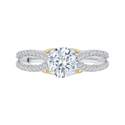 18K Tow-Tone 1/3 Ct Diamond Carizza Semi Mount Engagement Ring fit Round Center