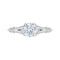 14K White Gold Round Diamond Vintage Engagement Ring with Split Shank (Semi-Mount)
