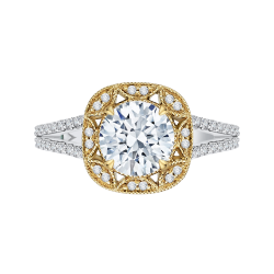 18K Two-Tone Gold Round Diamond Engagement Ring with Split Shank