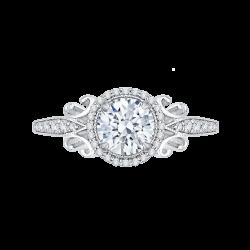 14K White Gold Round Diamond Halo Engagement Ring (Semi-Mount)