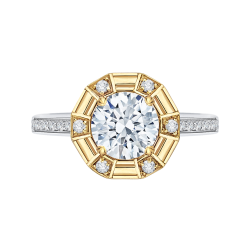 18K Two-Tone Gold 1/4 Ct Diamond Carizza Semi Mount Engagement Ring fit Round Center