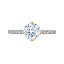 18K Two-Tone Gold 1/3 Ct Diamond Carizza Semi Mount Engagement Ring fit Round Center