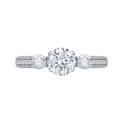18K White Gold Round Diamond Three-Stone Engagement Ring (Semi-Mount)