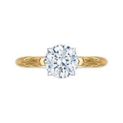 Round Cut Solitaire Diamond Vintage Engagement Ring In 18K Two-Tone Gold