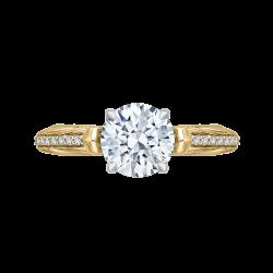 14K Two-Tone Gold Round Diamond Engagement Ring (Semi-Mount)