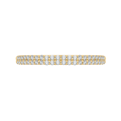 18K Yellow Gold Round Diamond Half-Eternity Wedding Band