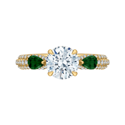 18K Yellow Gold 1/3 Ct Diamond and 5/8 Ct Green Tsavorite Carizza Semi Mount Engagement Ring To Fit Round Center