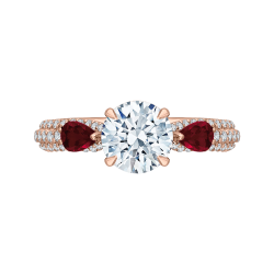 14K Rose Gold Round Diamond and Ruby Engagement Ring (Semi-Mount)