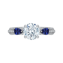 18K White Gold Round Diamond and Sapphire Engagement Ring (Semi-Mount)