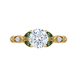18K Yellow Gold 1/5 Ct Diamond and 1/4 Ct Green Tsavorite Carizza Semi Mount Engagement Ring To Fit Round Center