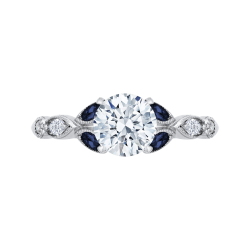 18K White Gold Round Diamond Engagement Ring with Sapphire