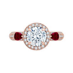 Round Diamond and Ruby Engagement Ring In 14K Rose Gold (Semi-Mount)