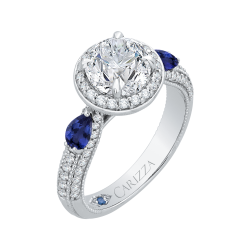 18K White Gold 1/2 Ct Diamond and 5/8 Ct Saphhire Carizza Semi Mount Engagement Ring To Fit Round Center
