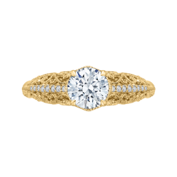 18K Yellow Gold Round Diamond Engagement Ring