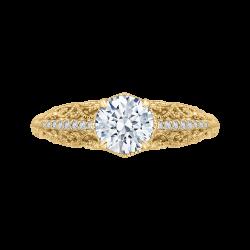 18K Yellow Gold Round Diamond Engagement Ring (Semi-Mount)