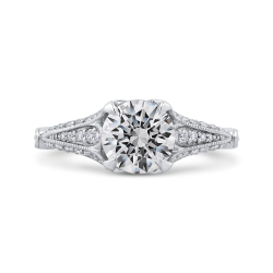 Round Cut Diamond Vintage Engagement Ring In 14K White Gold (Semi-Mount)
