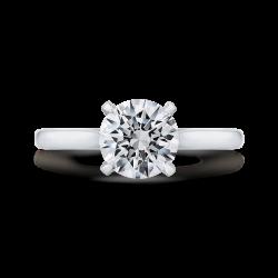 14K White Gold Round Diamond Classic Engagement Ring (Semi-Mount)