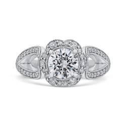 18K White Gold Round Diamond Floral Halo Engagement Ring with Split Shank