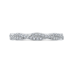 14K White Gold Round Diamond Crossover Wedding Band