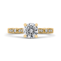 14K Yellow Gold Round Diamond Vintage Engagement Ring (Semi-Mount)
