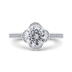 18K White Gold Round Diamond Halo Engagement Ring (Semi-Mount)