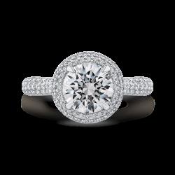 18K White Gold Round Diamond Double Halo Engagement Ring (Semi-Mount)