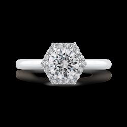 18K White Gold Round Diamond Hexagon Shape Halo Engagement Ring (Semi-Mount)