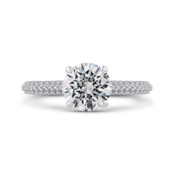 18K White Gold 5/8 Ct Diamond Carizza Semi Mount Engagement Ring to fit Round Center