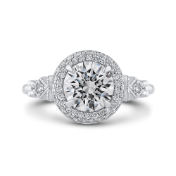Round Diamond Double Halo Engagement Ring In 18K White Gold