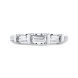 14K White Gold Baguette Diamond Wedding Band