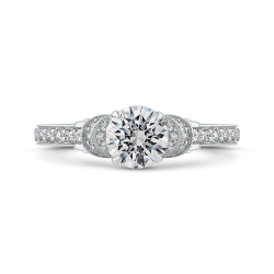Round Cut Diamond Engagement Ring In 18K White Gold