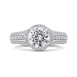 18K White Gold 7/8 Ct Diamond Carizza Semi Mount Engagement Ring to fit Round Center