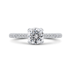 Round Diamond Engagement Ring In 18K White Gold
