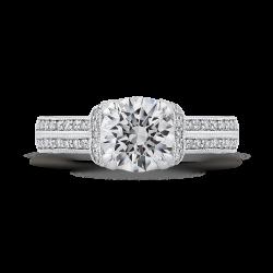 14K White Gold Round Diamond Engagement Ring (Semi-Mount)