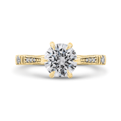 14K Yellow Gold Round Cut Diamond Engagement Ring (Semi-Mount)