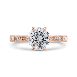 Round Cut Diamond Engagement Ring In 14K Rose Gold (Semi-Mount)