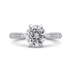 18K White Gold Round Cut Diamond Engagement Ring (Semi-Mount)