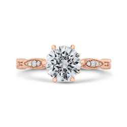 14K Rose Gold Round Cut Diamond Engagement Ring (Semi-Mount)