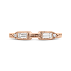14K Rose Gold Round and Baguette Diamond Wedding Band