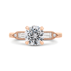 14K Rose Gold Round and Baguette Diamond Engagement Ring (Semi-Mount)
