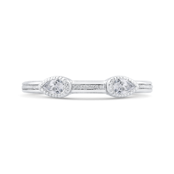 14K White Gold Pear Diamond Wedding Band