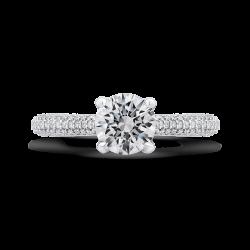 18K White Gold Round Cut Diamond Classic Engagement Ring (Semi-Mount)