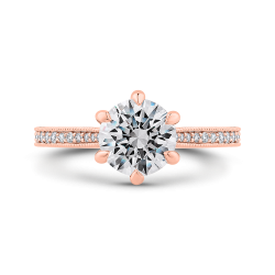 14K Rose Gold Round Diamond Engagement Ring (Semi-Mount)