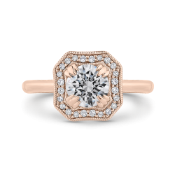 14K Rose Gold Round Diamond Halo Engagement Ring with Euro Shank (Semi-Mount)