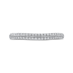 14K Two-Tone Gold Round Diamond Half-Eternity Wedding Band